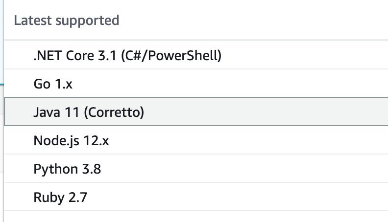 Select Java 11 Corretto Runtime